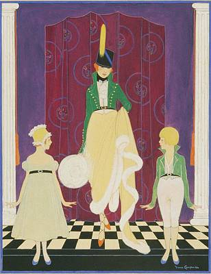A Woman With A Boy And Girl Poster by Irma Campbell