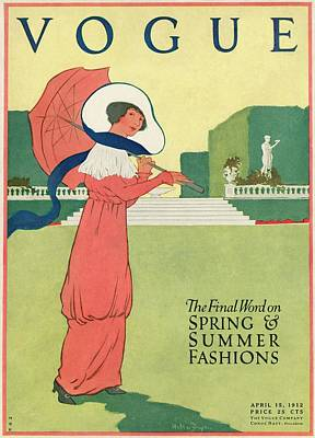 A Woman With A Parasol In A Garden Poster by Helen Dryden