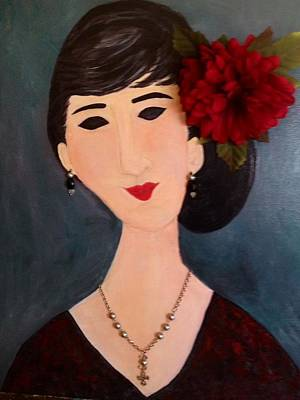 A Woman With Flower Poster by Sharon Lee Samyn