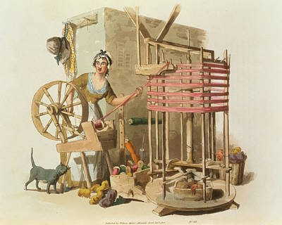 A Woman Wool Skeiner, Engraved Poster by William Henry Pyne