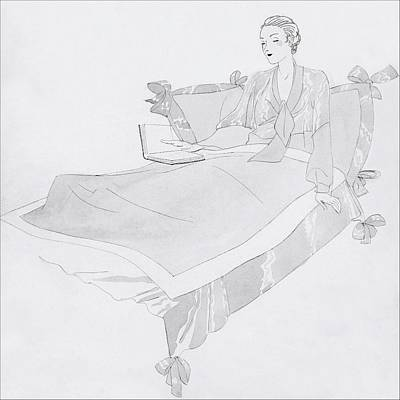 A Women Sitting In Bed With A Book Poster by Jean Pages