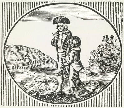 A Woodcut Of A Man And Boy Walking Togeth Poster by British Library