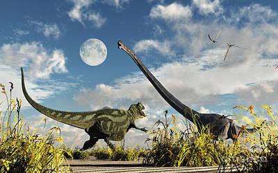 A Yangchuanosaurus Dinosaur Confronting Poster by Mark Stevenson
