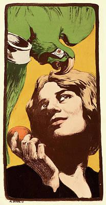 A. Yank French, Active 19th Century. La Femme Au Perroquet Poster