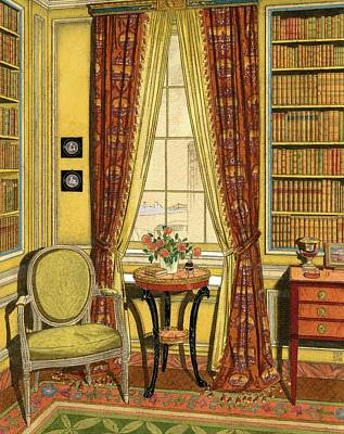 A Yellow Library With A Vase Of Flowers Poster