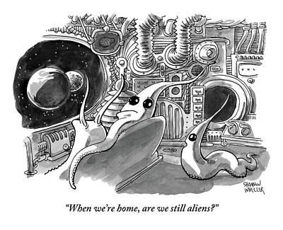 A Young Alien Asks His Alien Parents A Question Poster