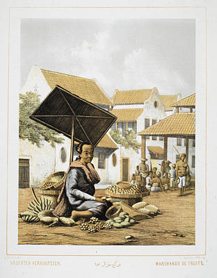 A Young Female Indonesian Fruit Seller Poster by British Library