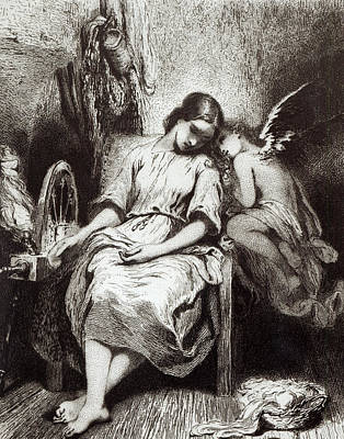 A Young Woman Dozing With An Angel Poster by Charles Nodier