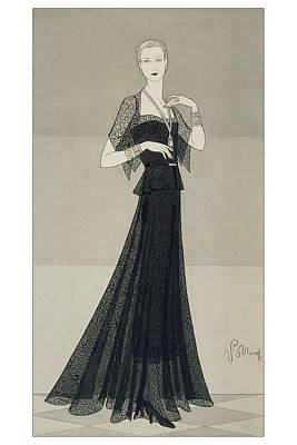 A Young Woman Wearing A Black Dress And Cape Poster by Douglas Pollard