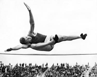 Aaaa Winning High Jump Poster by Underwood Archives