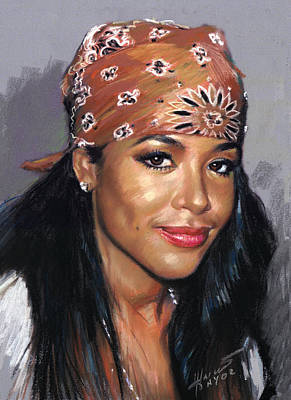 Poster featuring the drawing Aaliyah by Viola El
