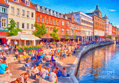 Aarhus Canal Digital Painting Poster by Antony McAulay