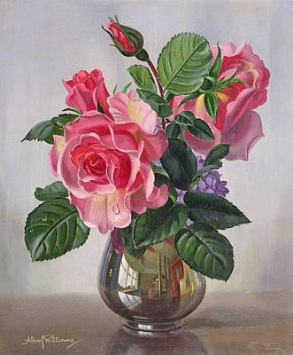 Lady Sylvia Roses In A Silver Vase Poster by Albert Williams