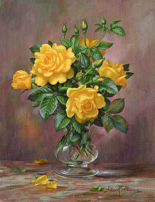 Radiant Yellow Roses Poster by Albert Williams