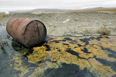 Abandoned Barrels Of Leaking Waste Oil Poster