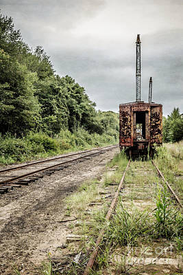 Abandoned Burnt Out Train Cars Poster