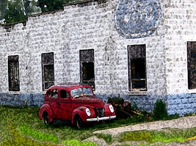 Abandoned Ford Garage Poster by Dennis Buckman