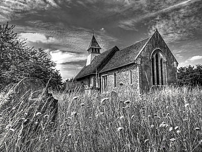 Abandoned Graveyard In Black And White Poster by Gill Billington