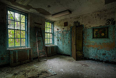 Poster featuring the photograph Abandoned Places - Asylum - Old Windows - Waiting Room by Gary Heller