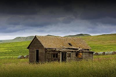 Abandoned Prairie Farm House Poster by Randall Nyhof