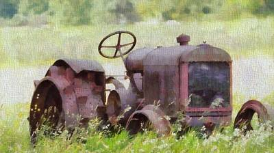 Abandoned Tractor On The Farm Poster
