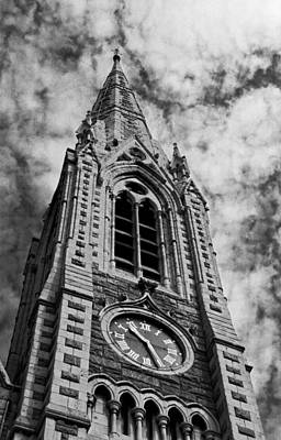 Abbey Church Clock In Black And White Poster