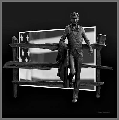 Abe Lincoln In Black And White Poster by Thomas Woolworth