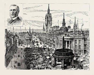 Aberdeen, Castle Street And The Municipal Buildings Poster by English School