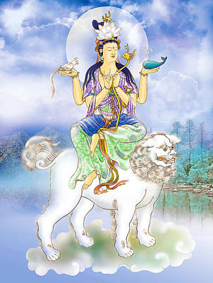 Poster featuring the photograph Abhetri Kuan Yin  by Lanjee Chee