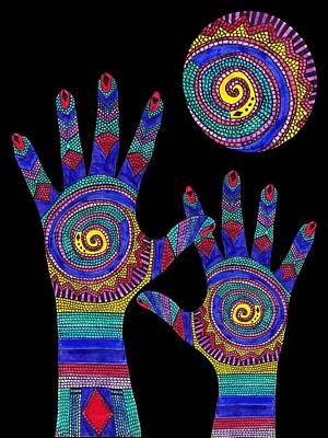 Aboriginal Hands To The Sun Poster by Barbara St Jean