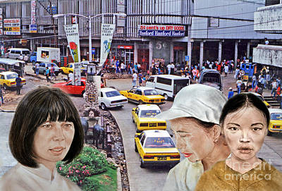 Above A City Street In A City In Southeast Asia Poster by Jim Fitzpatrick