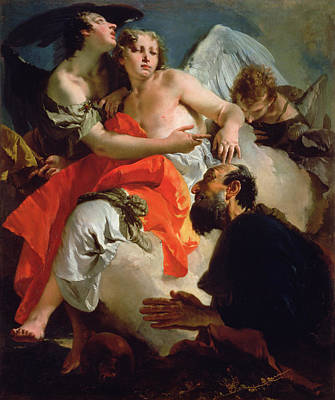 Abraham And The Three Angels Poster by Giovanni Battista Tiepolo