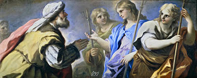 Abraham And The Three Angels Poster by Luca Giordano