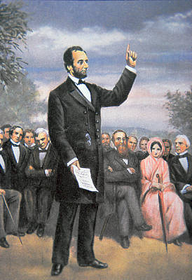 Abraham Lincoln Delivering The Gettysburg Address Poster by American School