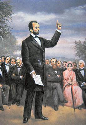 Abraham Lincoln Delivering The Gettysburg Address Poster