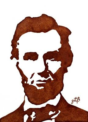 Poster featuring the painting Abraham Lincoln Original Coffee Painting by Georgeta  Blanaru