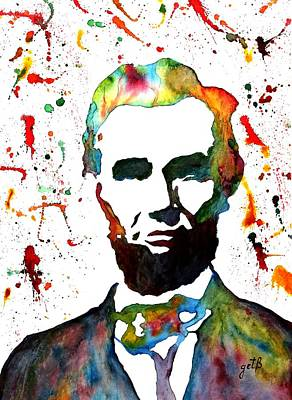 Poster featuring the painting Abraham Lincoln Original Watercolor Painting by Georgeta Blanaru