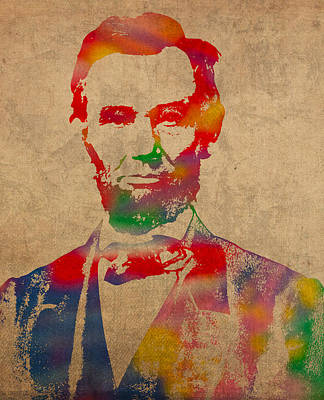 Abraham Lincoln Watercolor Portrait On Worn Distressed Canvas Poster by Design Turnpike