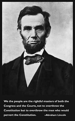 Abraham Lincoln We The People Poster by Unknown