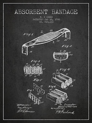 Absorbent Bandage Patent From 1906 - Charcoal Poster by Aged Pixel