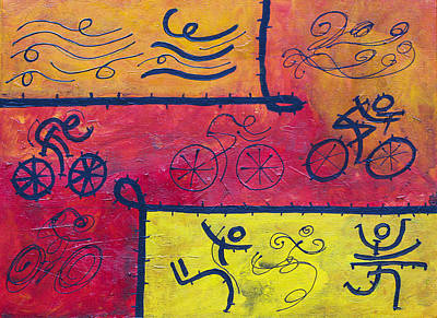 Abstarct Triathlon In Warm Colors Poster