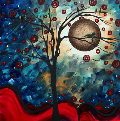 Abstract Art Contemporary Cat Bird Circle Of Life Collection Cat Perch By Madart Poster by Megan Duncanson