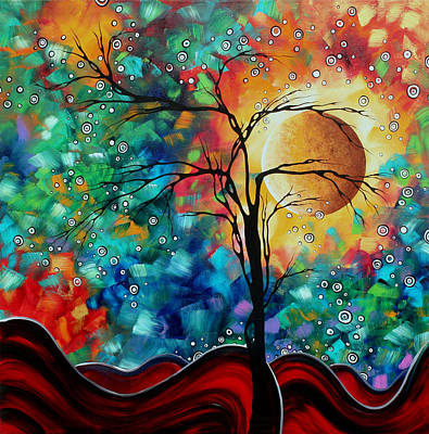 Abstract Art Original Whimsical Modern Landscape Painting Bursting Forth By Madart Poster