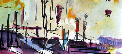 Abstract Barcelona Intuitive Abstract Watercolor And Ink Poster by Ginette Callaway
