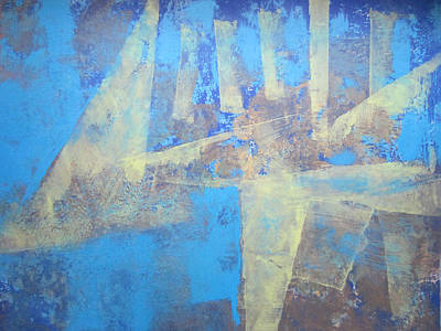 Poster featuring the painting Abstract Blue Landscape by John Fish