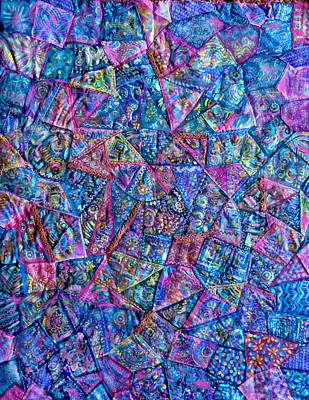Poster featuring the digital art Abstract Blue Rose Quilt by Jean Fitzgerald