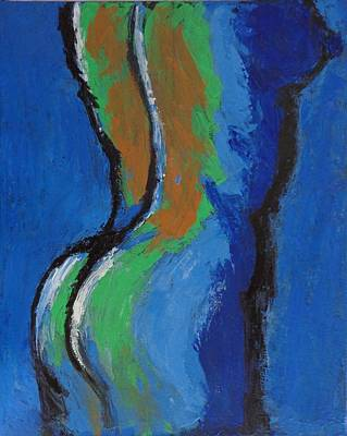 Abstract Blue Torso - Female Nude Poster