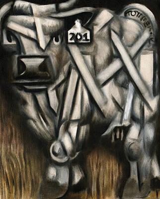 Abstract White Bull Art Print Poster
