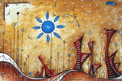 Abstract City Cityscape Contemporary Art Original Painting The Lost City By Madart Poster by Megan Duncanson