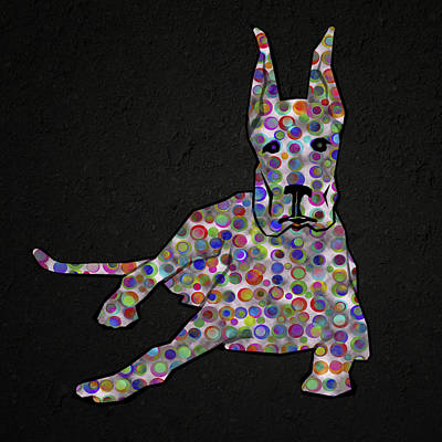 Abstract Colorful Dog Silhouette Poster by Georgeta Blanaru